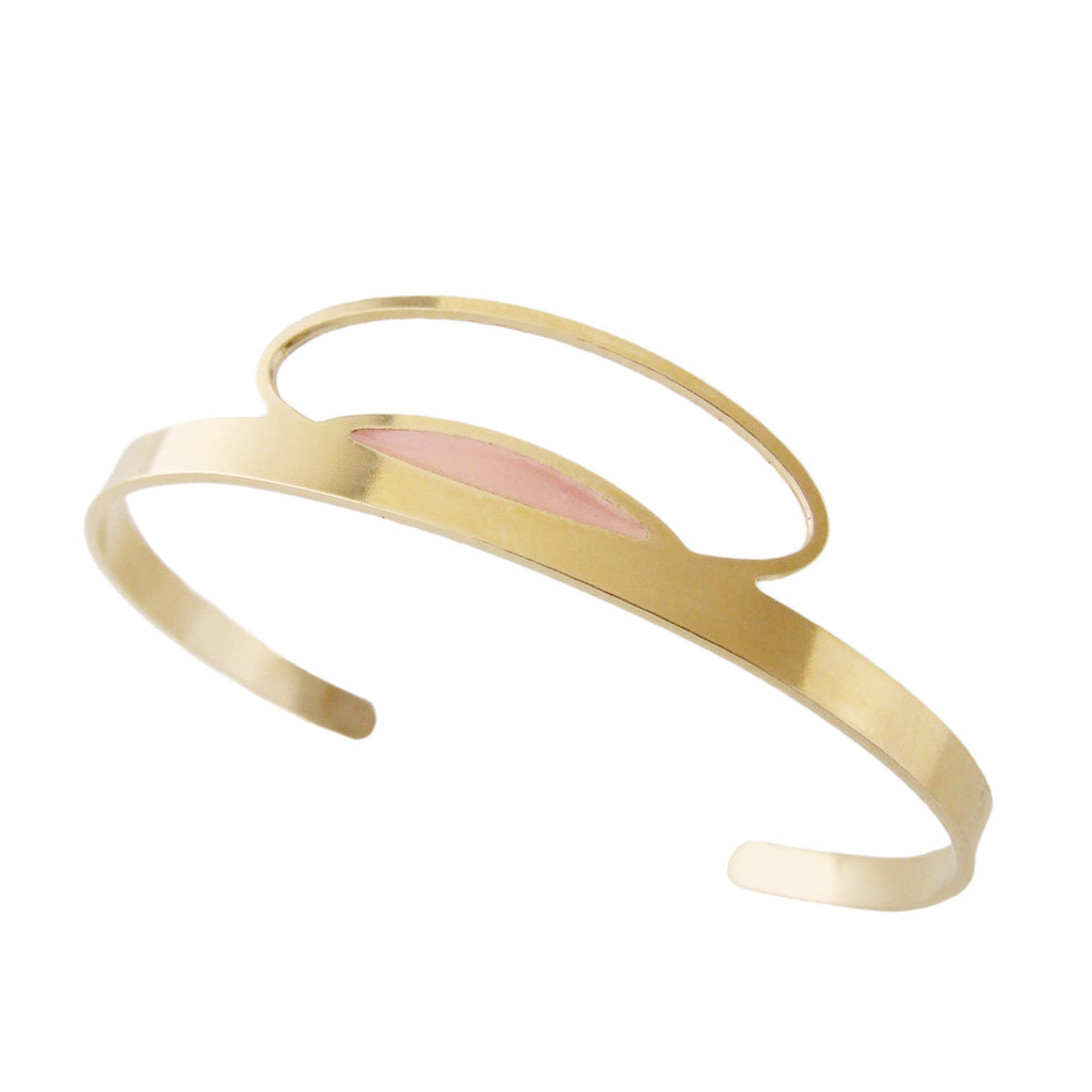 Thin gold cuff bracelet in blush pink