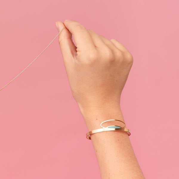 Thin gold cuff bracelet in duck egg