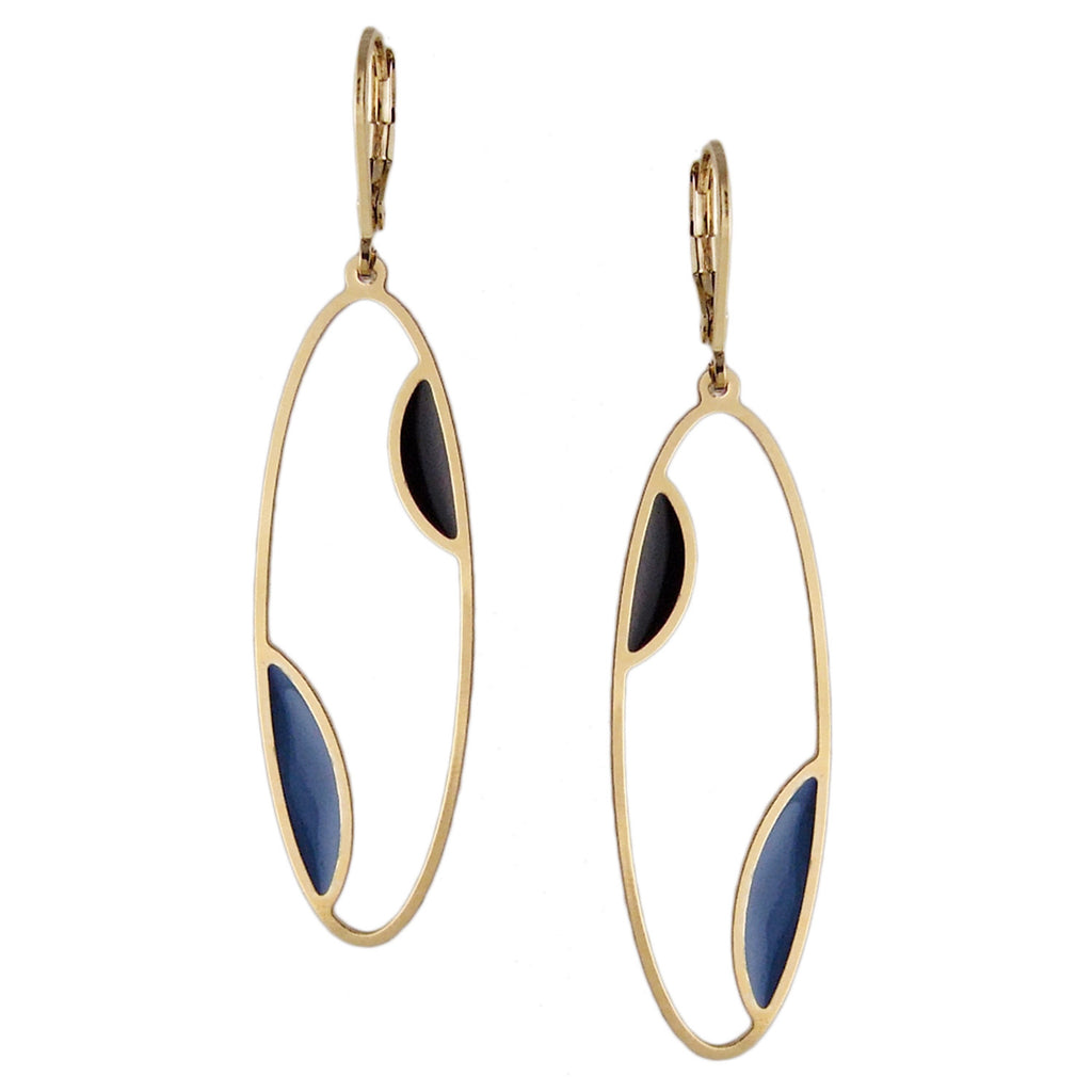 Long gold oval earrings