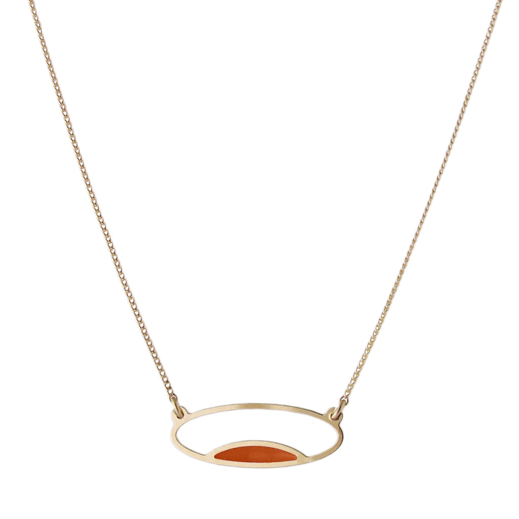 Delicate gold oval necklace