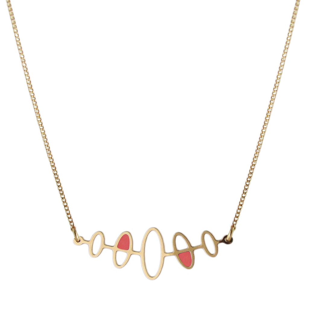 Fifties inspired enamelled gold necklace