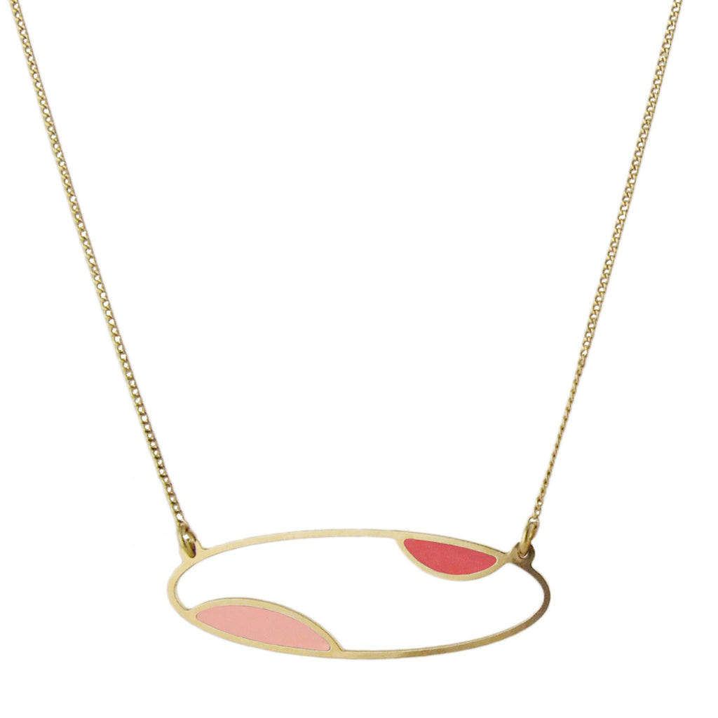 Delicate gold oval two tone necklace