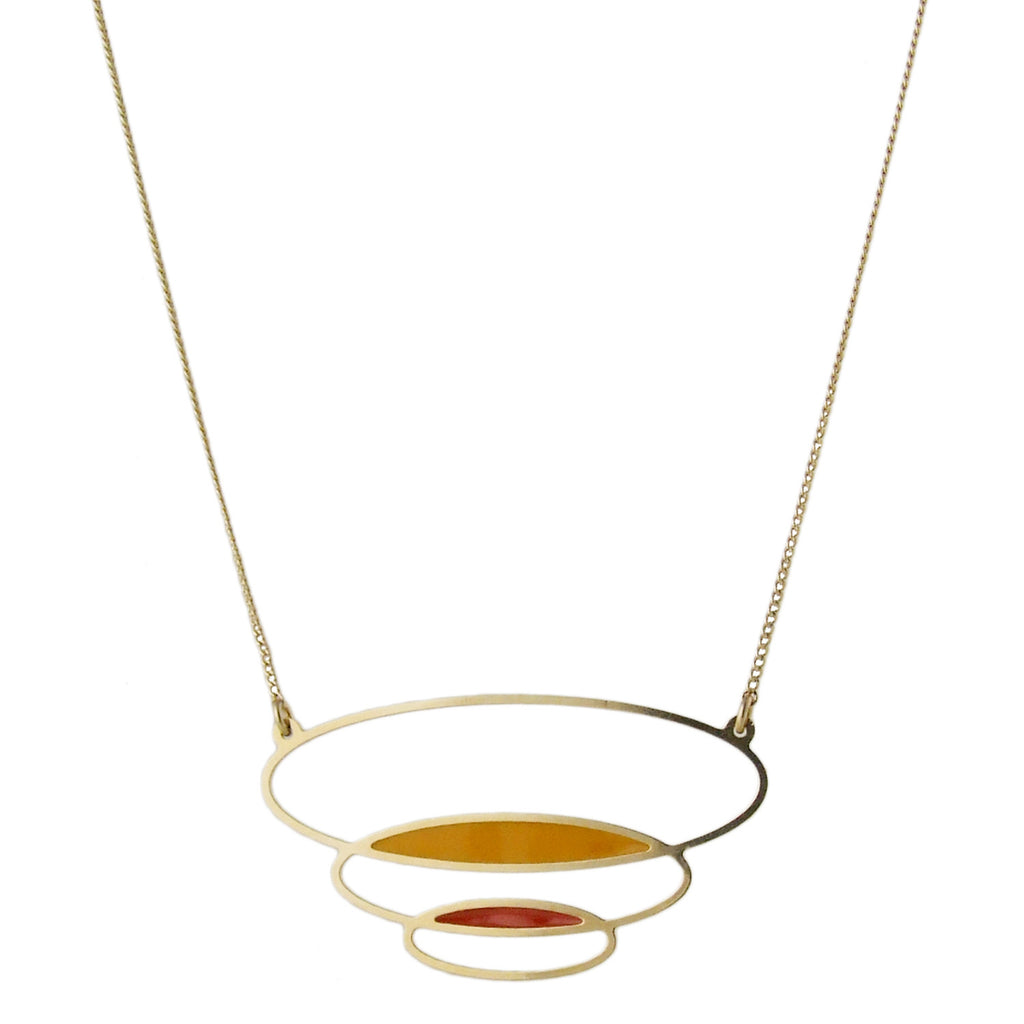 Enamelled long gold necklace