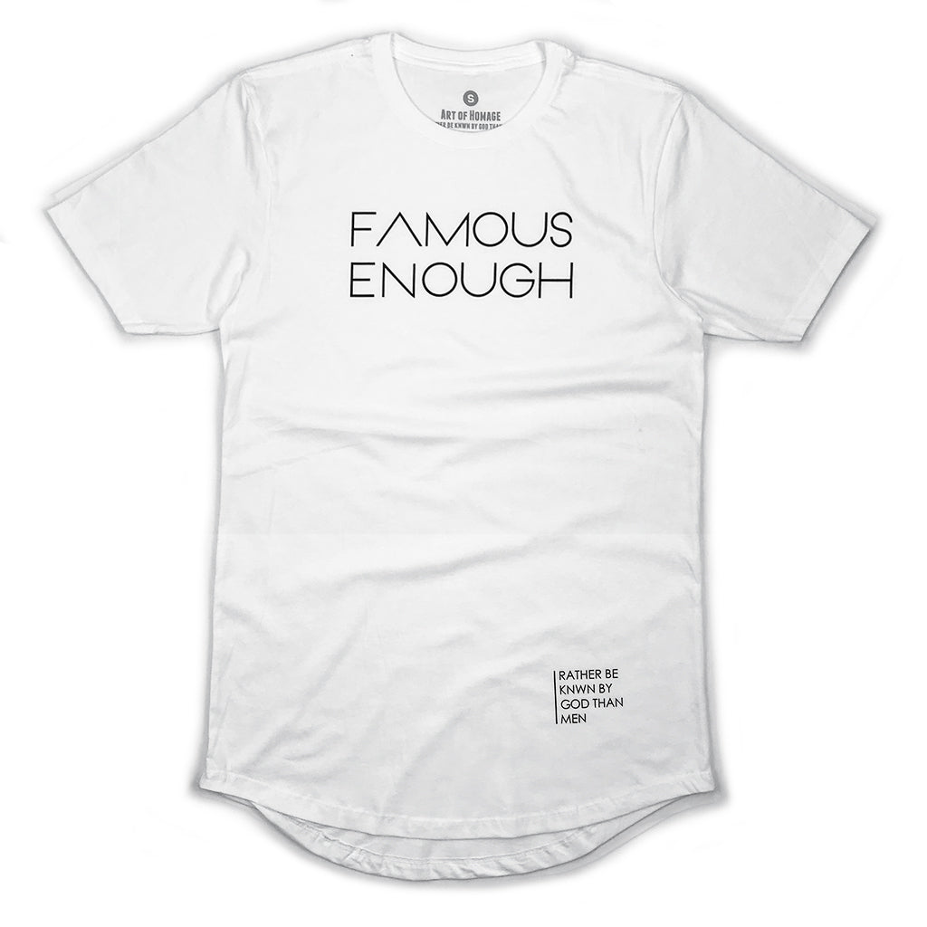 Famous Enough Signature Swoop Tee (White)