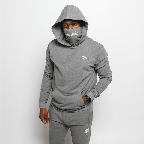 Product of Grace - Masked Hoodie - Heather Gray