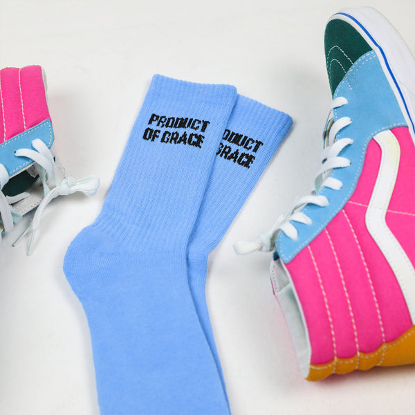 Pastel Crew Sock - Product of Grace - Carolina Blue