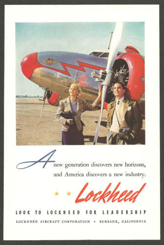 Lockheed Aircraft Print Ad Aviation Antique Advertisment 1941 Shiny Silver Red - Paperink Graphics