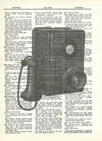 Antique Candlestick Wall Phone Voice Fun Mixed Media Dictionary Art Print fun039 - Paperink Graphics