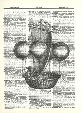 Balloon Airship Steampunk Air Balloon Ride Dictionary Print  fun021