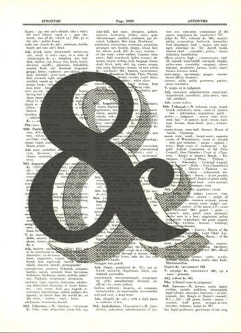 Ampersand Symbol Typography Dictionary Art Print Graphic Art fun058