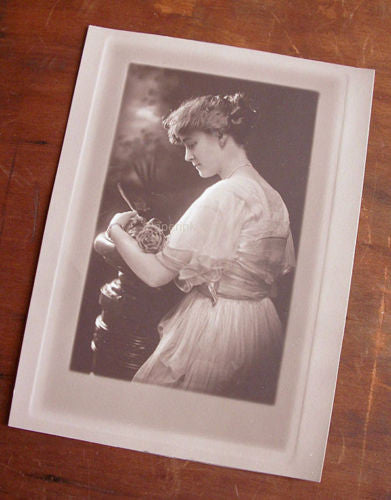 Antique Photograph Introspective Elegantly Dressed Woman Single Rose Side View - Paperink Graphics