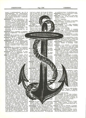 Anchor Ship Boat Anchor Dictionary Art Print Nautical fun023 - Paperink Graphics