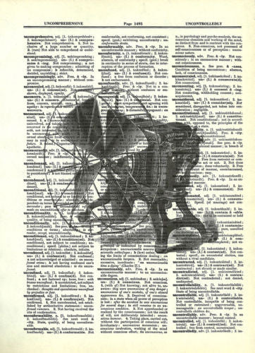 Industrial Fan Wheel Spokes Steampunk Dictionary Art Mixed Media Wall Art fun019 - Paperink Graphics