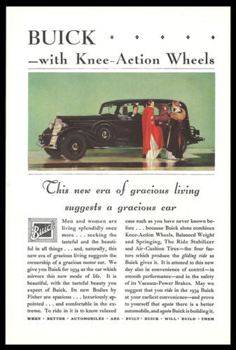 1934 Buick Sedan Gracious Motor Car Photo Print AD - Paperink Graphics