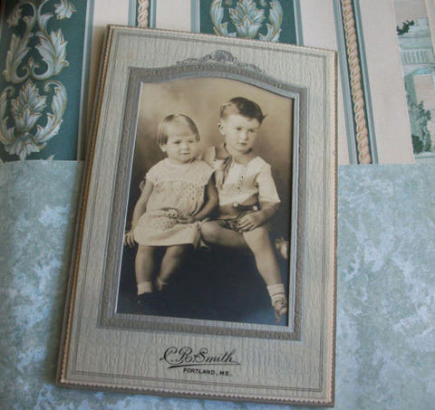 Antique Photograph Charming Children C.R. Smith Studio Photography Portland ME - Paperink Graphics