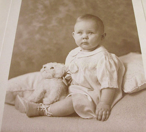 Antique Photograph Baby Girl Posing with Stuffed Toy Dog Studio Photography - Paperink Graphics
