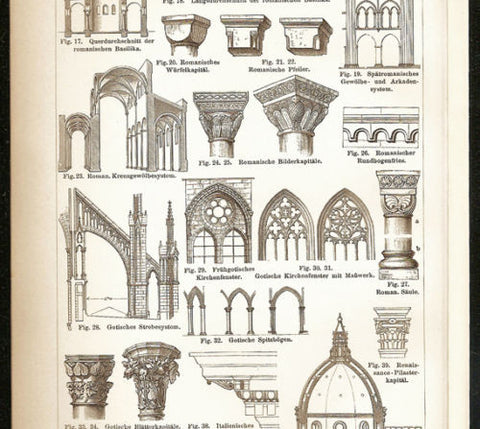 1897 Architecture Doorways Columns Arches Antique German Art Print