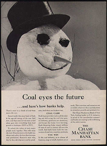 Coal Eyes Snowman 1957 Ad Chase Manhattan Bank Banking Finance Advertisement - Paperink Graphics