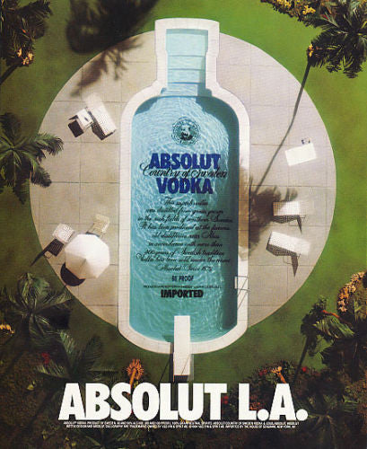 Absolut Advertisement Absolut L.A. 1994 Vodka Liquor AD Aerial View Luxury Pool - Paperink Graphics