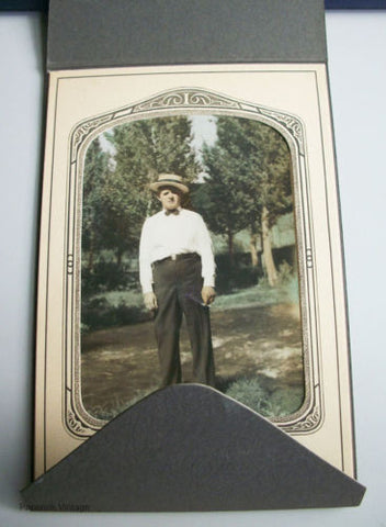 Antique Photograph Gentleman in Straw Hat and Bow Tie Smoking - Paperink Graphics