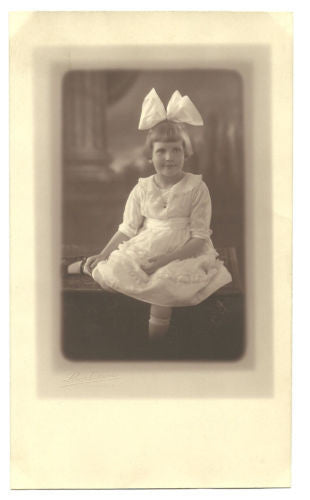 Antique Sepia Photograph Girl Pretty Cotton Dress White Bow Lovely Studio Photog