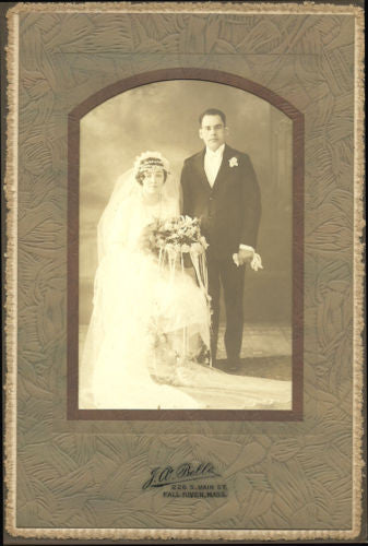 Antique Wedding Photograph Flapper Groom Studio Photography Lovely Bride 1920s