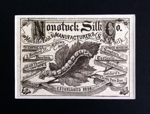 Antique Silk Ad Matted Nonotuck Silk Co. MA Vintage AD Typography - Paperink Graphics