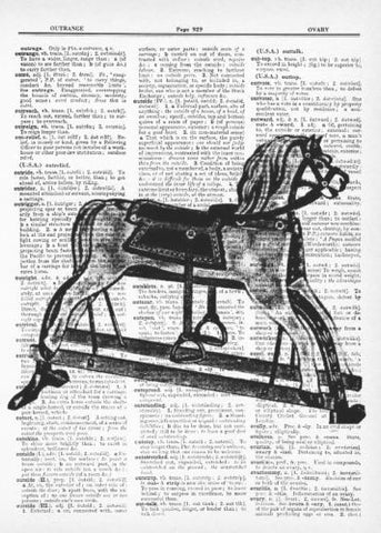 Antique Toy Rocking Horse Fun Dictionary Art Print   fun002 - Paperink Graphics