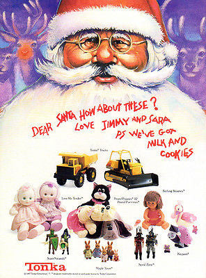 Tonka Toy AD 1987 Tonka Advertisement Santa Claus Reindeer Toys Collectible AD