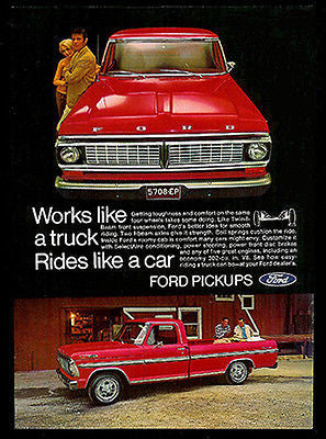 Ford Truck 1969 Original AD Tough 302 cu in V8 Pickup Red Chrome Transportation - Paperink Graphics
