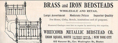 Brass Iron BED Ad 1896 Bedsteads Whitcomb Metallic Furniture Ad - Paperink Graphics