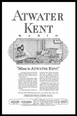 Atwater Kent RADIO Advertisement 1924 Living Room Decor Radio Horn Print AD