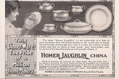 China Dishes 1914 Homer Laughlin AD Newell West Virginia