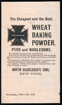 Wheat Baking Powder 1884 AD Martin Kalbfleisch NY - Paperink Graphics