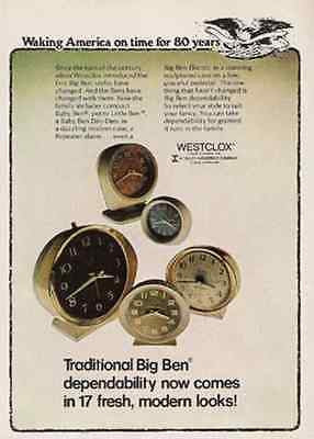 BIG BEN Ad Alarm Clock Modern Look 1977 Advertising - Paperink Graphics