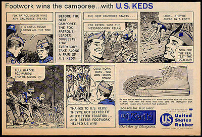 Keds Vintage Shoes Ad 1960 Scouting Camping U.S. Keds Blue Label
