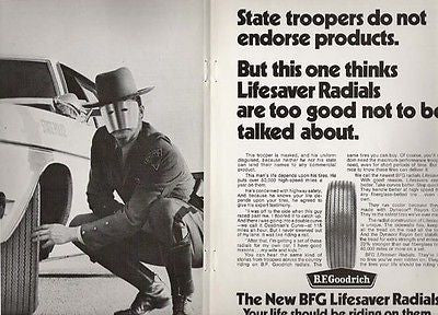 Mask State Trooper Policeman BF Goodrich Tire Ad 1970 Automobile Radial Tires
