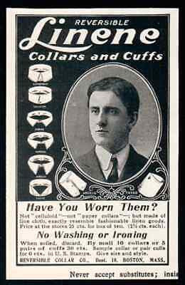Collars Cuffs Linene 1907 Clothing Accessory Mens Fashion  Ad - Paperink Graphics