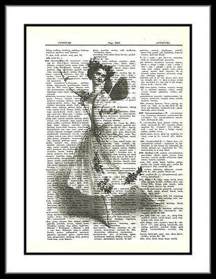 Ballet Dancer Butterfly Fairy Wings Dictionary Art Print ladies016 - Paperink Graphics