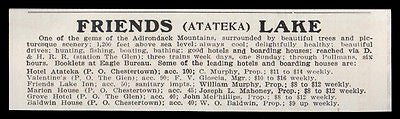 Atateka 1915 Friends Lake Leading Hotels & Boarding Houses Adirondacks NY AD