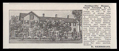 Good Ground LI 1915 Springville House NY Modern Hotel Photo Print AD - Paperink Graphics