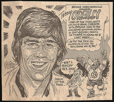 Terry O'Reilly Hockey Bruins Sports Cartoon Newspaper Clipping