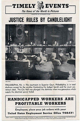 Justice Rules by Candlelight Philadelphia PA Superior Court 1945 Courtroom