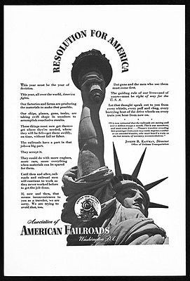 Victory Torch Ad Statue of Liberty 1943 American Railroads Assoc Photo Ad
