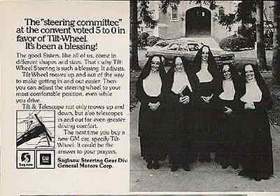 Mercy Nuns 1976 Vintage AD General Motors Automobile Tilt Wheel Advertising - Paperink Graphics