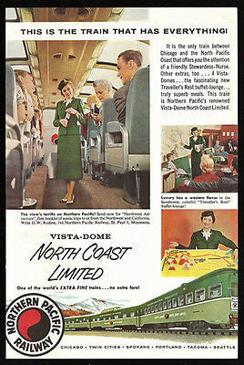 Stewardess Nurse AD 1956 Northern Pacific Railway North Coast Limited Vista Dome