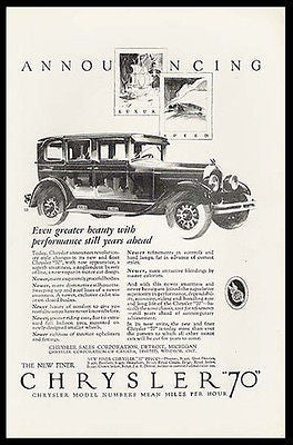 Chrysler 70 Luxury Speed 4 Door Automobile 1926 Print Ad - Paperink Graphics