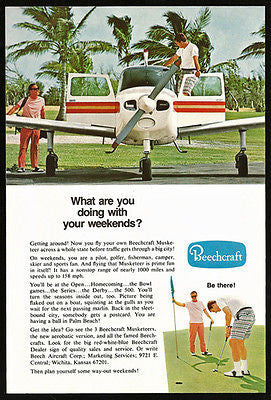 Golf Golfing Beechcraft Musketeer Fly to Palm Beach Aviation 1969 Photo Ad