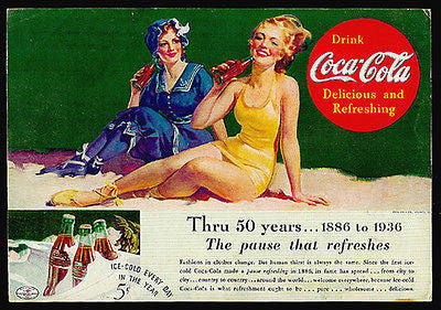 Beach Bathing Beauties 50 years 1886 to 1936 Coca-Cola Coke Ad - Paperink Graphics