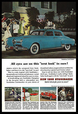 Studebaker Land Cruiser 1950 AD Blue Car Photo Print Automobile Advertising